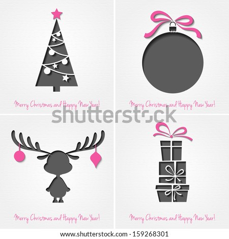 Vector Merry Christmas Paper greeting card - stock vector