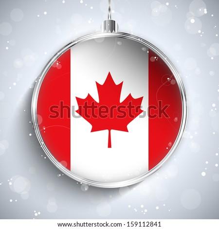 Vector - Merry Christmas Silver Ball with Flag Canada - stock vector