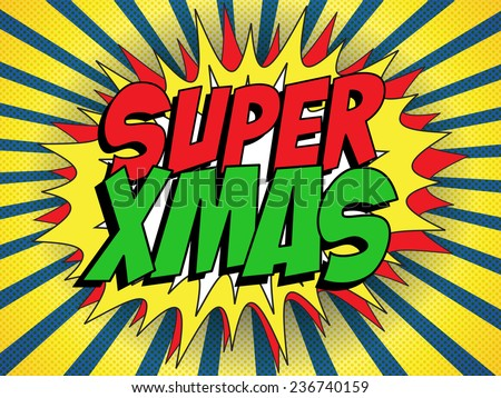 Vector - Merry Christmas Super Hero Background - stock vector