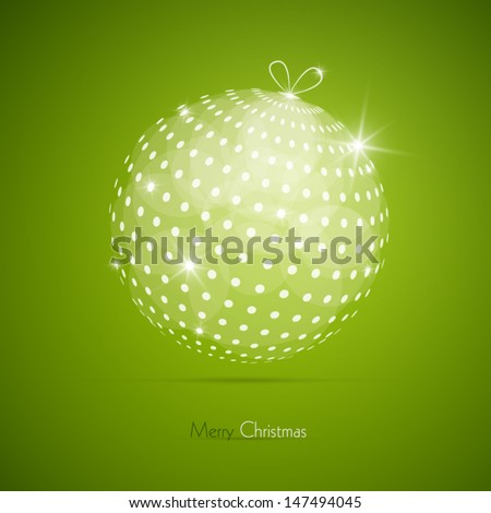Vector Merry Christmas theme on green background  - stock vector