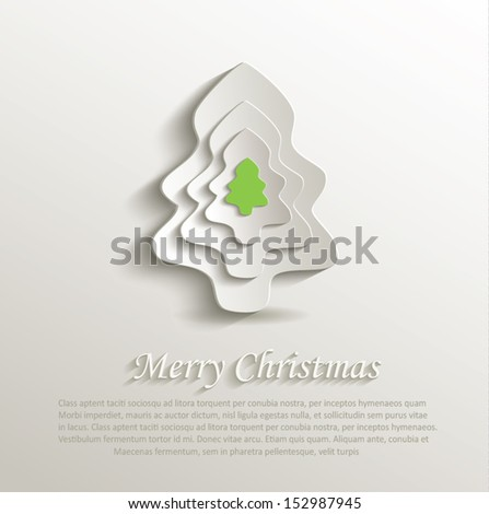 vector merry christmas tree paper 3D abstract - stock vector
