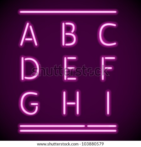 Vector mesh realistic letters of neon tubes - stock vector