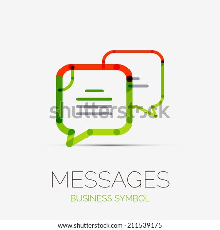 Vector message clouds company logo design, business symbol concept, minimal line style - stock vector