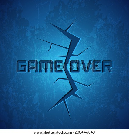 Vector Message: Game Over on Cracked Background - stock vector