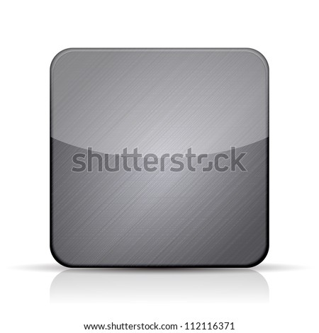 Vector metal app icon on white background. Eps10 - stock vector