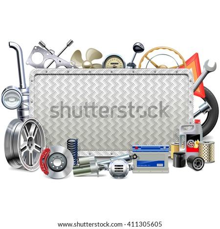 Vector Metal Board with Car Parts - stock vector