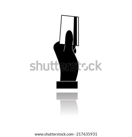 Vector metal button with Hand holding credit card, business card, ID icons set  with shadow - stock vector