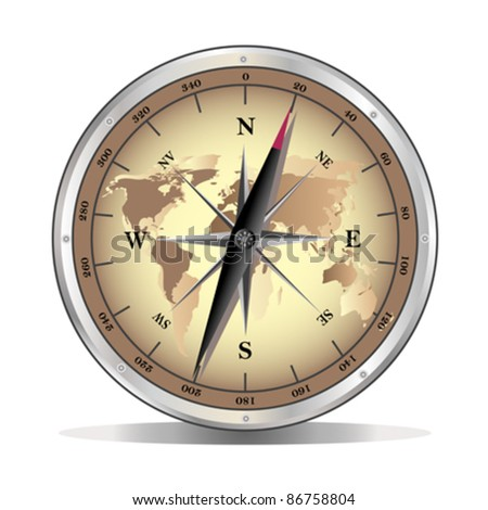 vector metal compass over white background - stock vector