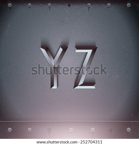 Vector Metal Embossed Font from Y to Z - stock vector