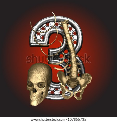 Vector Metal figure with skeleton - stock vector