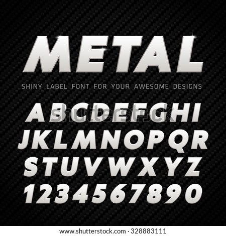 Vector Metal Font on carbon background - stock vector