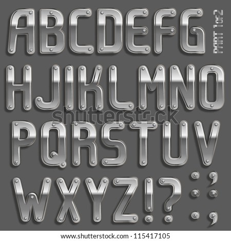 Vector metal font with screw heads  PArt 1/2 Full ABC A-z - stock vector