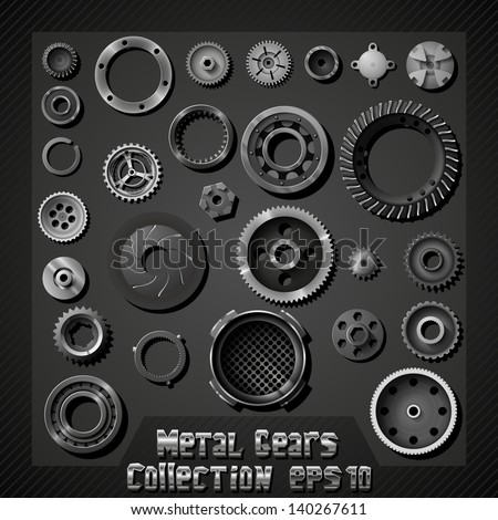 Vector metal gears collection - stock vector