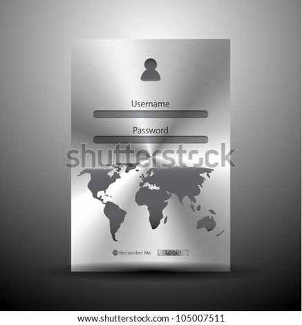 Vector metal login form (brushed steel) with world map - stock vector