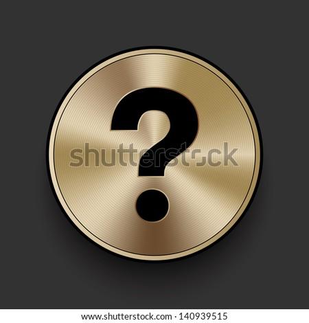 Vector metal multimedia question mark icon / button, graphic design element - stock vector