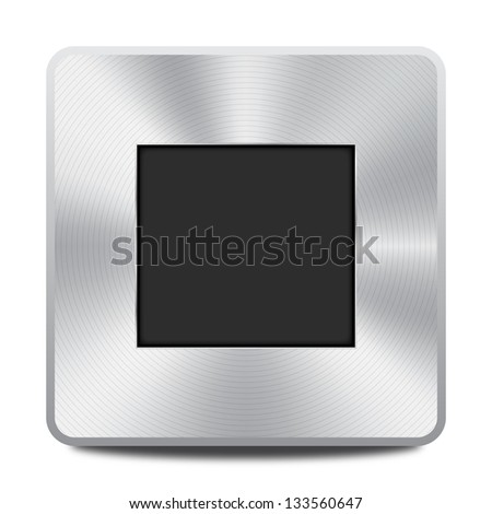 Vector metal multimedia stop icon / button, design element