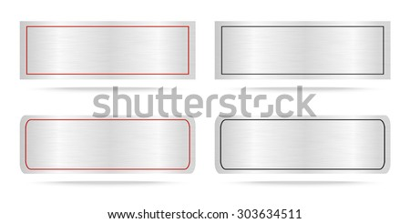 Vector Metal name plate or Metallic labels .Vector illustration - stock vector
