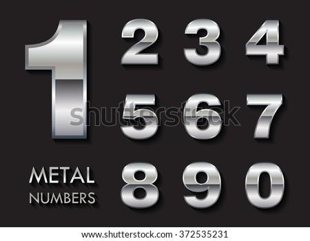 Vector metal numbers.Set of chrome numbers. - stock vector