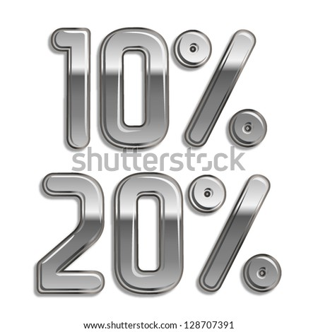 Vector metal rounded font  Percents templates for sale 20%, 10% - stock vector