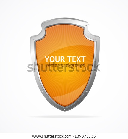 Vector metal shield lke speech templates for text - stock vector