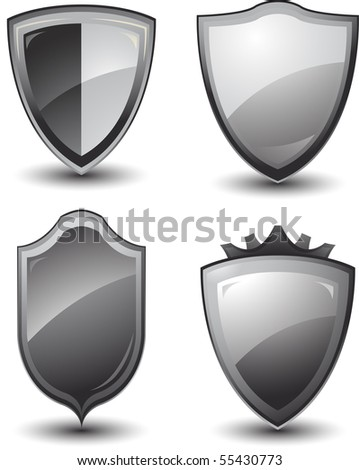 Vector metal shields - stock vector