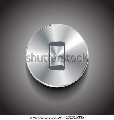Vector metal smart phone button - stock vector