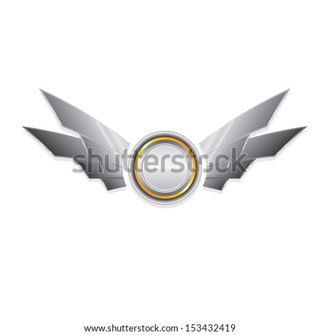 Vector metallic automotive, motorcycle badge with wings isolated on white. Signs and labels. - stock vector