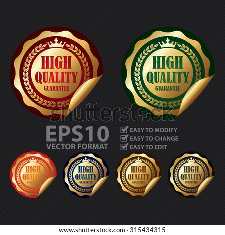Vector : Metallic Circle High Quality Guarantee Infographics Peeling Sticker, Label, Icon, Sign or Badge - stock vector