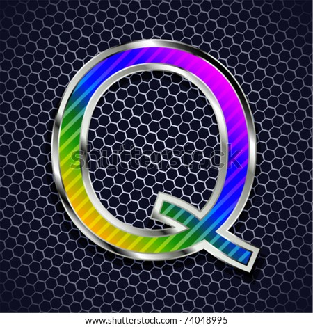 vector metallic font on a metal grid. Letter Q