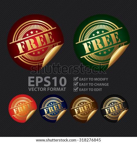 Vector : Metallic Free Infographics Peeling Sticker, Label, Icon, Sign or Badge - stock vector