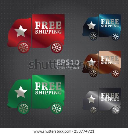 vector : metallic free shipping sticker, sign, badge, icon, label - stock vector