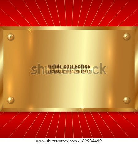 Vector Metallic Golden Award Plate on Red Background with rays - stock vector