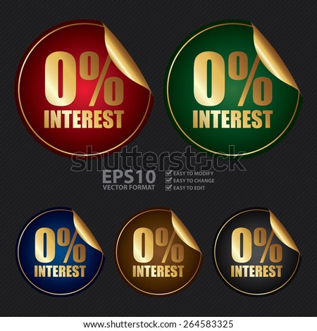 Vector : Metallic 0% Interest Sticker, Icon or Label