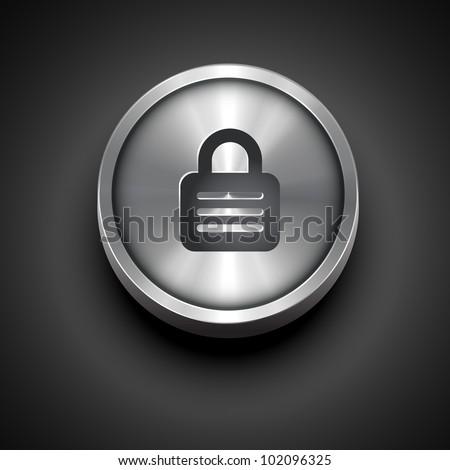 vector metallic lock icon design - stock vector