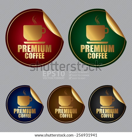 Vector : Metallic Premium Coffee Sticker, Icon or Label - stock vector