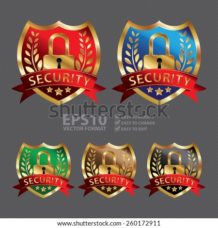 Vector : Metallic Security Shield, Ribbon, Badge, Icon, Sticker, Banner, Tag, Sign or Label - stock vector