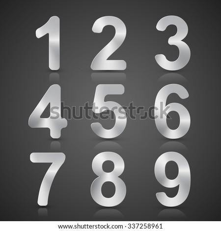 Vector Metallic Silver Number Set. - stock vector
