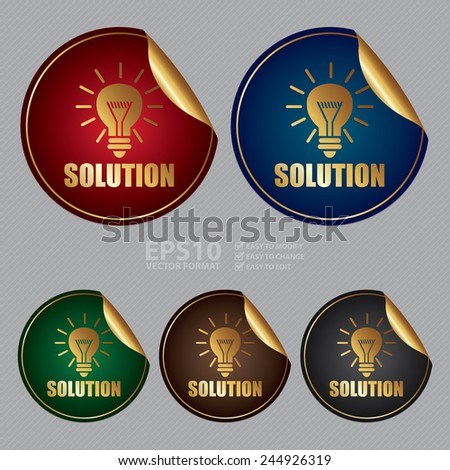 Vector : Metallic Solution Sticker, Icon or Label - stock vector