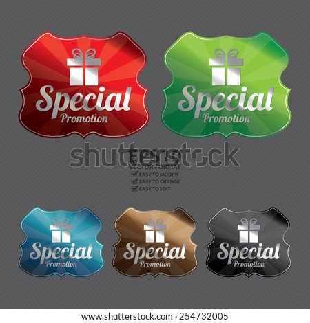 Vector : Metallic Special Promotion Badge, Icon, Label, Sign or Sticker - stock vector