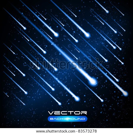 Vector meteor shower - stock vector