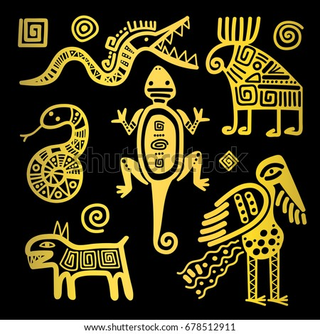 Vector mexican culture golden primitive tribal signs on black