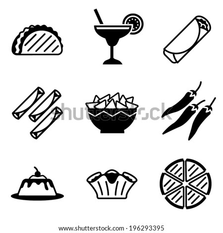vector mexican food icons - stock vector