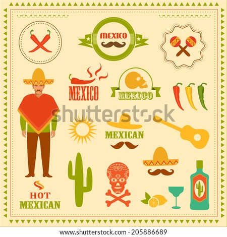 vector mexican icons, mexico stamp illustration - stock vector