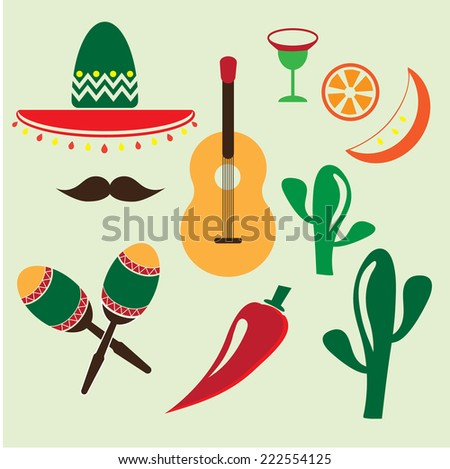 Vector mexico icons set on white background - stock vector
