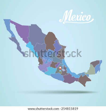 Vector mexico map detailed - stock vector