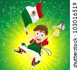 Vector - Mexico Sport Fan with Flag and Horn - stock photo