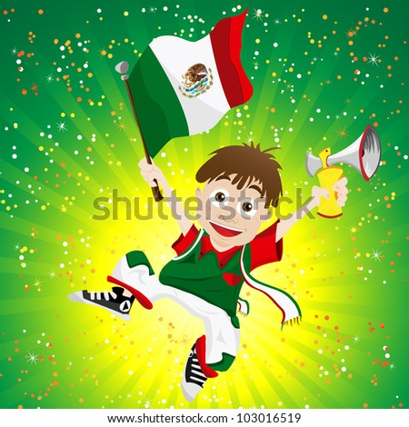 Vector - Mexico Sport Fan with Flag and Horn - stock vector