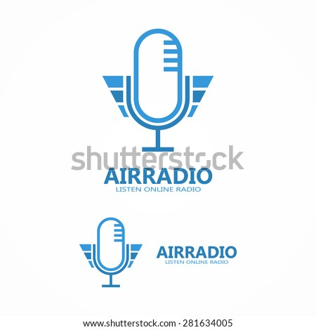 Vector microphone icon or logo - stock vector