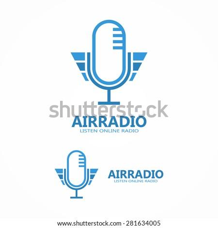 Vector microphone icon or logo - stock vector