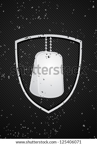 vector military dog tags on black - stock vector
